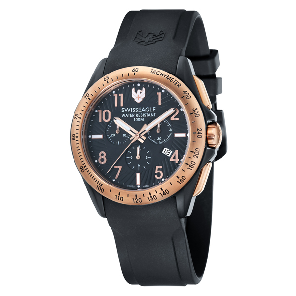 Swiss Eagle Swiss Made Gents Tactical Field Chronograph Watch with Black Silicone Strap Rose Gold
