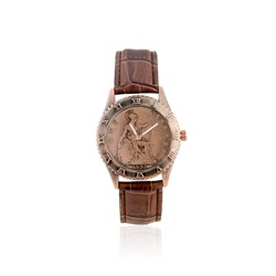 One Penny Coin Watch with Brown Genuine Leather Strap