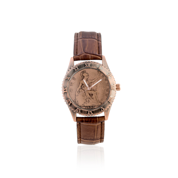One Penny Coin Watch with Brown Genuine Leather Strap Brown