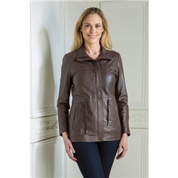 Woodland Leather Zip Front High Collar Jacket