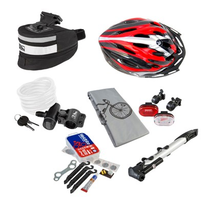 Coyote 7 Piece Cycle Accessory Pack - Helmet, Pump, Lock, Cover, Lights, Repair Kit and Quick Release Seat Bag