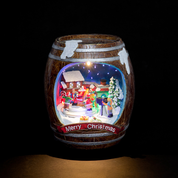 Battery Powered Fibre Optic LED Barrel with Revolving Village Kids and Santa No Colour