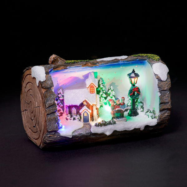 Battery Powered Fibre Optic LED Log with Animated Church No Colour