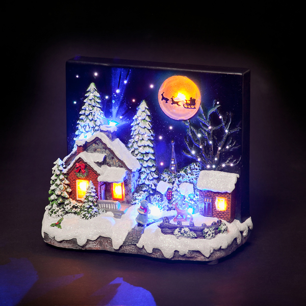 Battery Powered Fibre Optic LED Houses Under Night Sky with Tall Trees/Large Moon No Colour