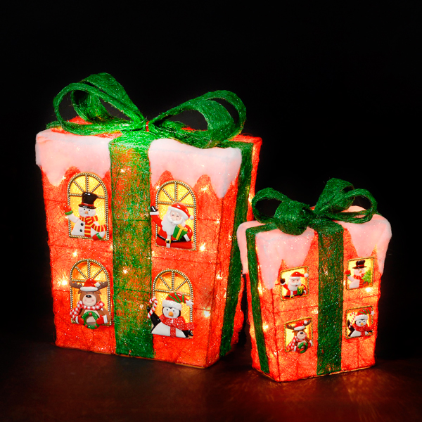 Battery Powered 48cm and 32cm Red Sisal Gift Boxes with Warm White LEDs No Colour