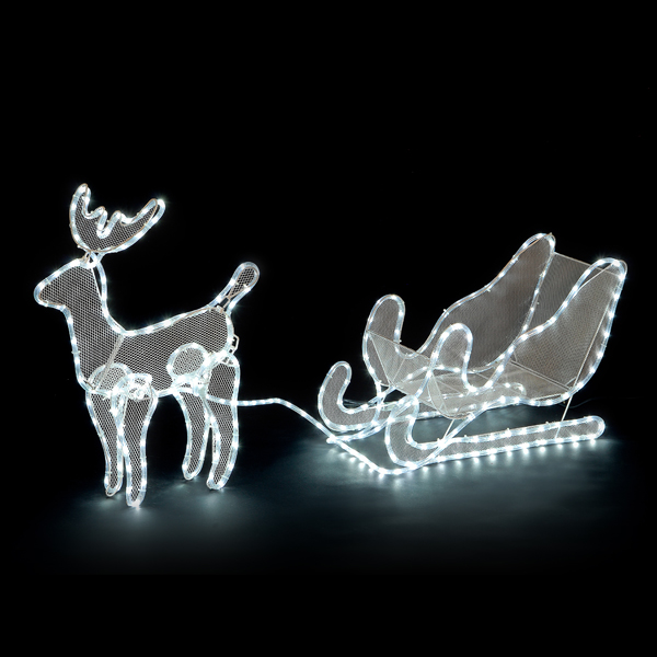 32cm Reindeer and Sleigh Rope Light Silhouette with Ice White LEDs No Colour