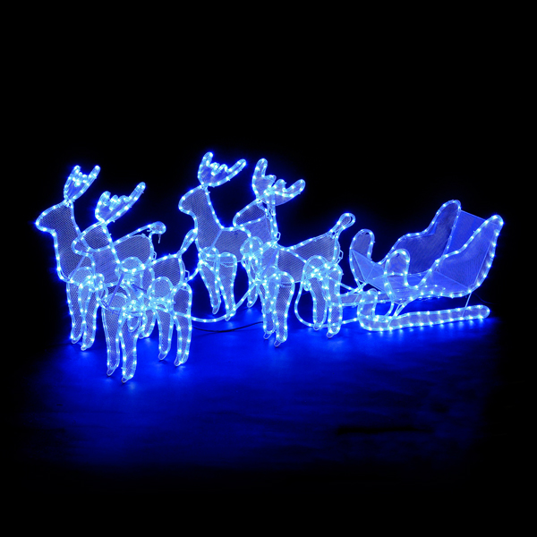 4 Reindeer & Sleigh Rope Light Silhouette with Electric Blue LEDs No Colour