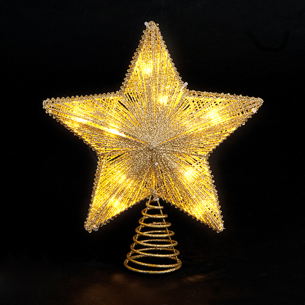 25cm LED Gold Wire Glitter Star Tree Top No Colour