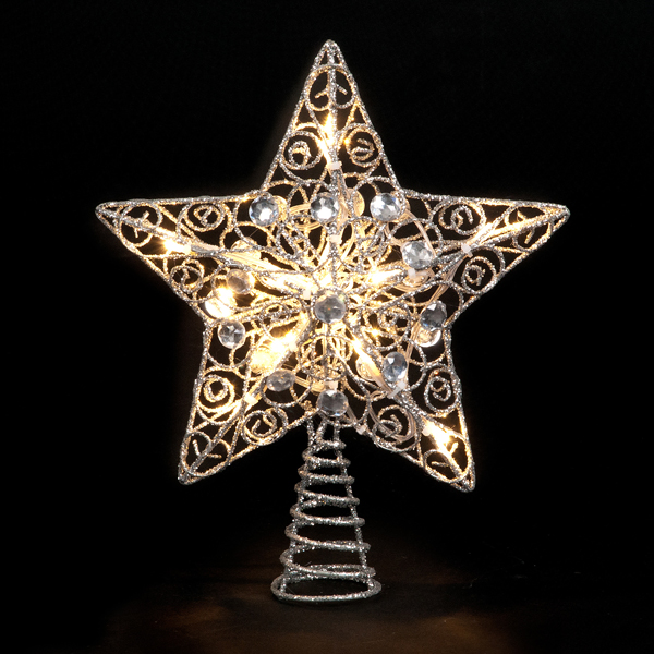 Battery Operated Silver Star Tree Topper with 10 Warm White LEDs No Colour