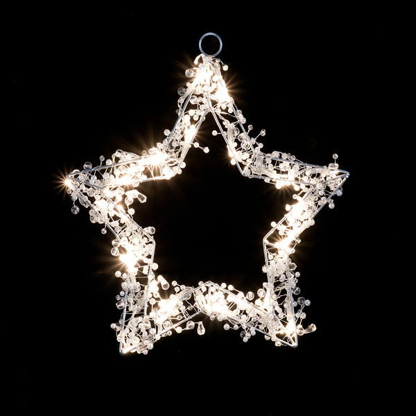 Beaded Pentagram White LED Light No Colour