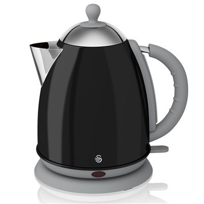 Swan 1.7 Litre Black Jug Kettle - Black