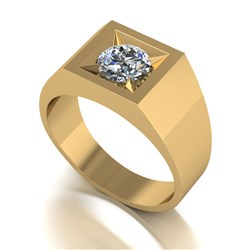 Gents Moissanite 9ct Gold 1.00ct eq Solitaire Ring