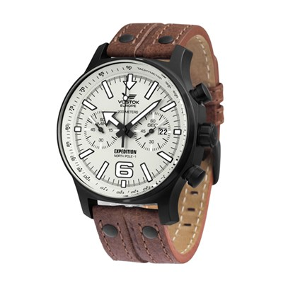 Vostok Europe Gents Expedition Chronograph Watch with Brown Genuine Leather Strap