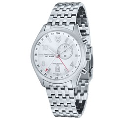 Swiss Eagle Swiss Made GMT Alarm Watch with Stainless Steel Bracelet