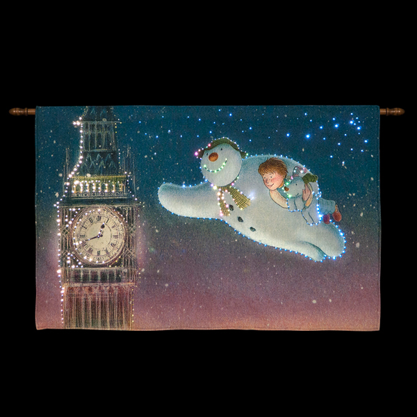 33 x 22 in Snowman and Snowdog Big Ben Wall Tapestry No Colour