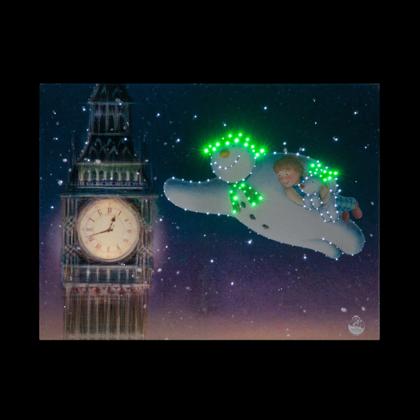 Snowman and Snowdog Flying Round Big Ben Canvas with Timer No Colour