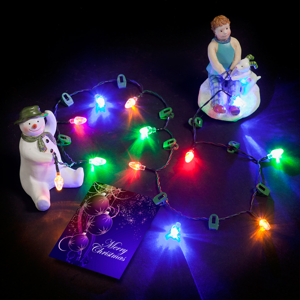 Snowman, Snowdog & Boy with Multi-Coloured LED String/Hang Clips No Colour