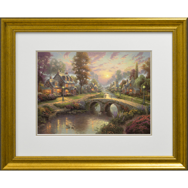 Thomas Kinkade Sunset On Lamplight Lane Open Edition Framed Print