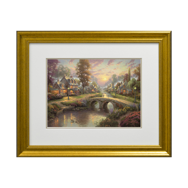 Thomas Kinkade Sunset On Lamplight Lane Open Edition Framed Print Traditional