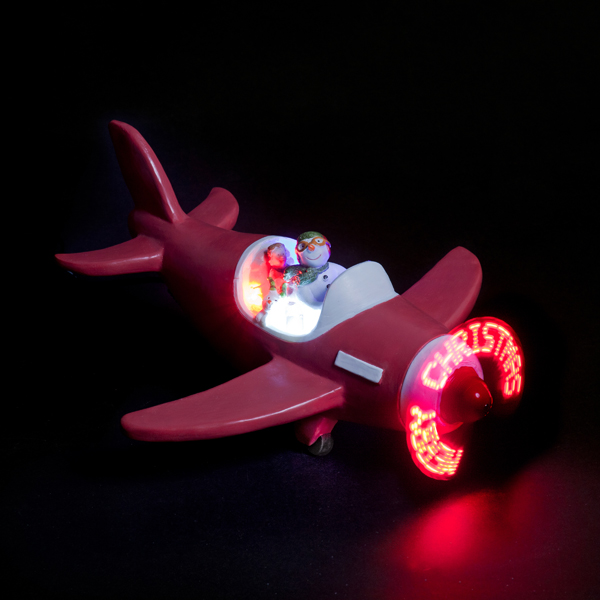Snowman & Snowdog Red Plane with Merry Christmas Music No Colour