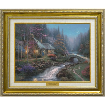 Thomas Kinkade Twilight Cottage Open Edition Canvas Framed Print