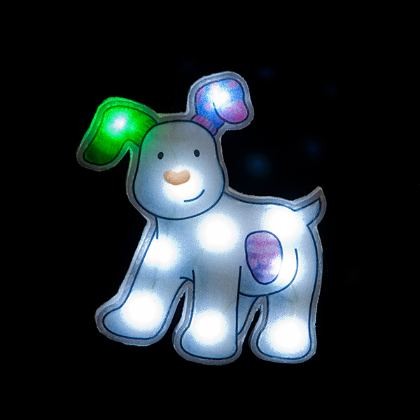 25cm Snowdog with 10 Ice White LEDs/Window Sucker No Colour