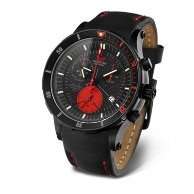 Vostok Europe Gents Anchar Submarine Chronograph Watch with Genuine Leather Strap and Silicon Strap