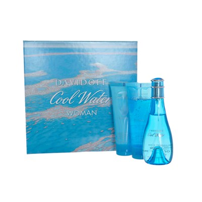 Cool Water Woman EDT Spray 100ml, Body Lotion 75ml, Shower Gel 75ml
