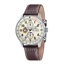 AVI-8 Gents Hawker Hurricane Japanese Quartz Chronograph Watch with Genuine Leather Strap
