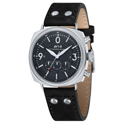 AVI- 8 Gents Lancaster Bomber Japanese Quartz Chronograph Watch with Genuine Black Leather Strap