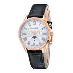 Earnshaw Gents Swiss Made Swiss Quartz Chronograph Watch with Embossed Genuine Leather Strap