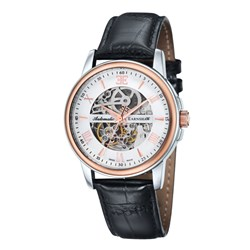 Earnshaw Gents Beagle Swiss Made Swiss Automatic Watch with Embossed Genuine Leather Strap