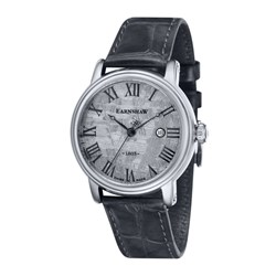 Earnshaw Gents Swiss Made Meteorite Dial Swiss Quartz Watch with Genuine Leather Strap