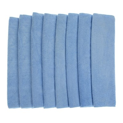 Pack of 8 Large Microfibre Cloths - Blue BOGOF