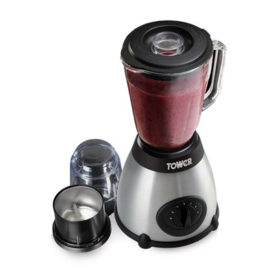 Tower 500W Glass Jar Blender 1.5L with Grinder and 5 Speed Settings - Stainless Steel