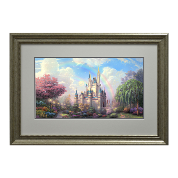 Thomas Kinkade A New Day at Cinderellas Castle Open Edition Framed Print Traditional