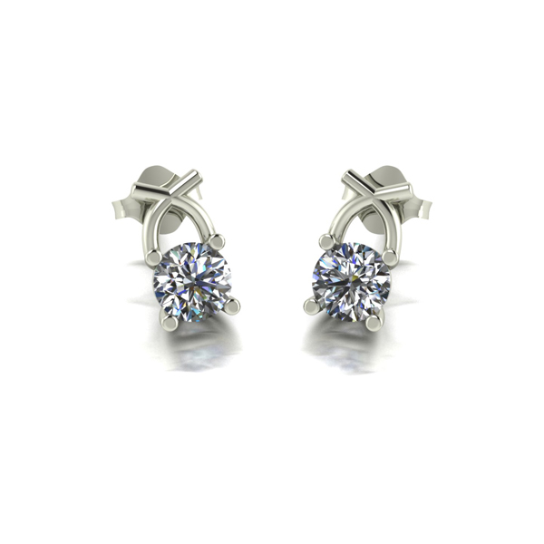 Lady Lynsey 9ct Gold 1.00ct eq Kiss Stud Earrings White Gold
