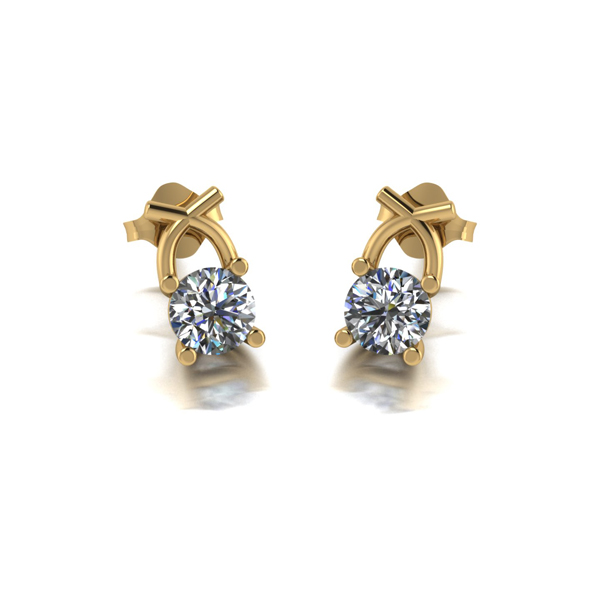 Lady Lynsey 9ct Gold 1.00ct eq Kiss Stud Earrings Yellow Gold