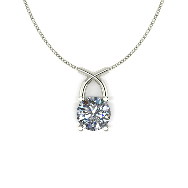 Lady Lynsey 9ct Gold 1.00ct eq Kiss Solitaire Pendant White Gold