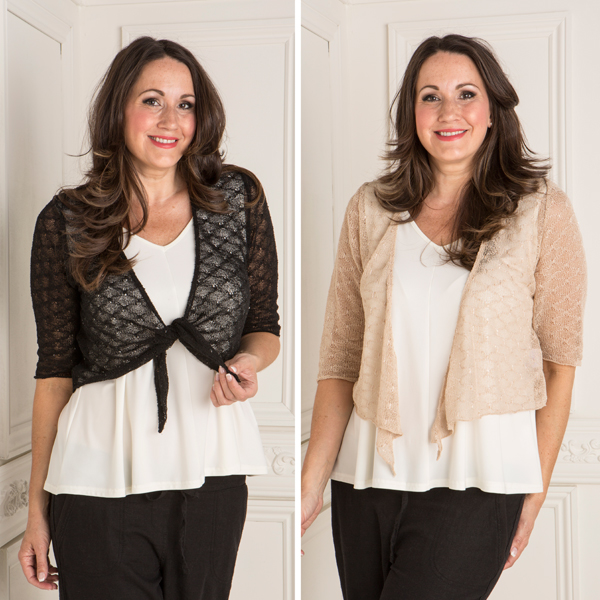 Sugar Crisp 2 Pack Knit Sequin Shrug Black/Stone