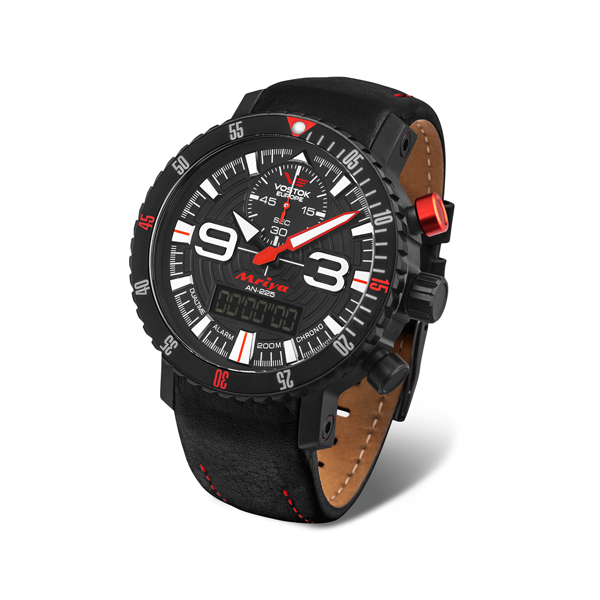 Vostok Europe Gents Mriya Ana-Digi Watch with Interchangeable Genuine Leather and Silicone Strap in a Dry Box Red