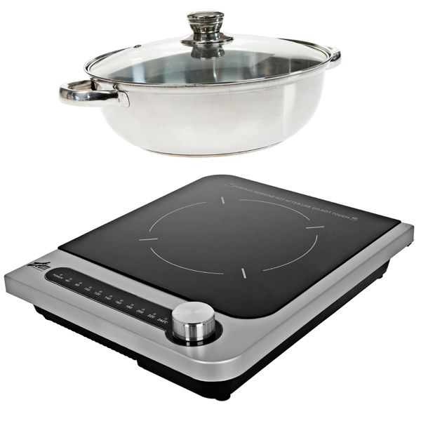 EasiCook Induction Hob with Stainless Steel Cooking Pot Black & Grey