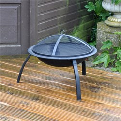 Outdoor Garden Patio Fire Pit with Mesh Lid Fireguard