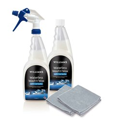 Williams Waterless Wash and Wax 1 Litre with Free Extra Litre and 2 Microfibre Cloths