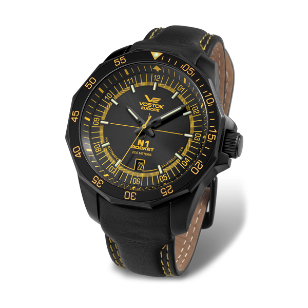 Vostok Europe Gents N1 Rocket Watch with Tritium Tubes and Genuine Leather Strap Yellow