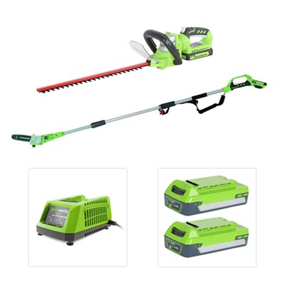 Greenworks 24V Multipack including Pole Pruner, Hedge Cutter, Batteries and Charger