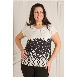 Geometric Border Print Shell Top