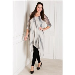 Made In Italy Printed Silk Long Line Tunic with Cami
