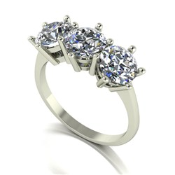 Moissanite 9ct Gold 3.00ct eq Trilogy Ring