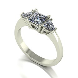 Moissanite 9ct Gold 1.20ct eq Mixed Cut Trilogy Ring